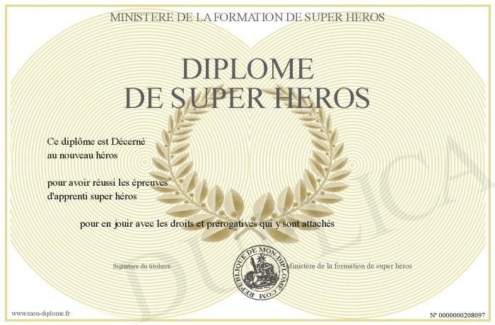 Diplôme de Super Héros